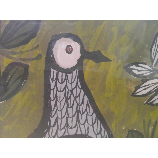 1960s Mid-Century Pigeons Gouache For Sale - Image 5 of 5