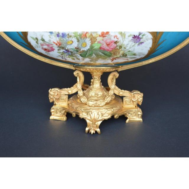 Sèvres Porcelain Sevres Style Parcel-Gilt Ormolu Mounted Enameled Blue Celeste Bowl For Sale - Image 4 of 7