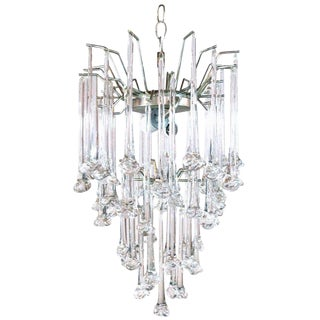 1960s Murano Glass Drop Chandelier by Venini For Sale
