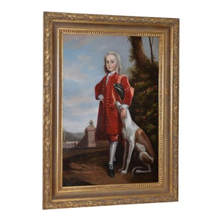 Vintage Oil Portrait of a Young Man With His Dog C.1950s For Sale