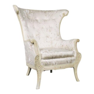 Neoclassic French Style Large Wingback Lounge Chair in Antique White For Sale