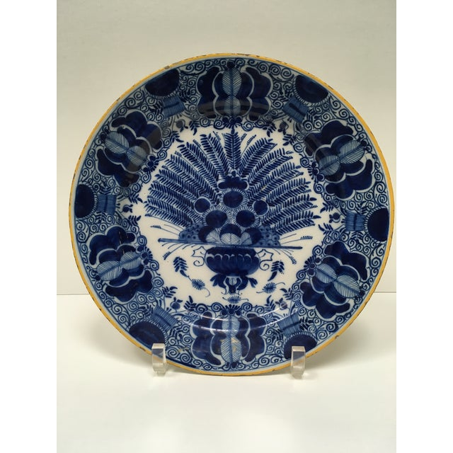 "This is a large, magnificent Delft Peacock Plate, circa 1750, blue & white and in wonderful condition. It measures 13 1/2""..."