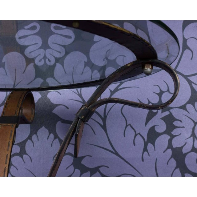 """Unique French """"Leather"""" Wrought Iron Table With Glass Top - Image 5 of 11"""