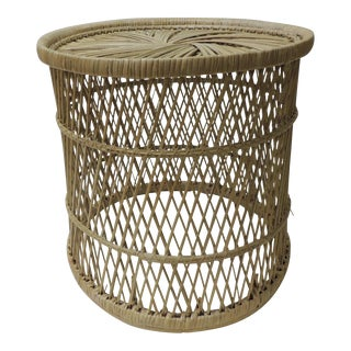 Vintage Small Round Rattan Rustic Side Table For Sale