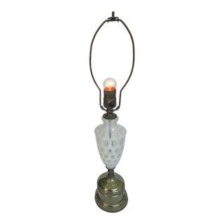 White Artisan Glass Table Lamp, Circa 1920's. For Sale