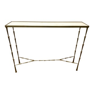 Studio a Modern Brass and White Marble Spike Console Table For Sale