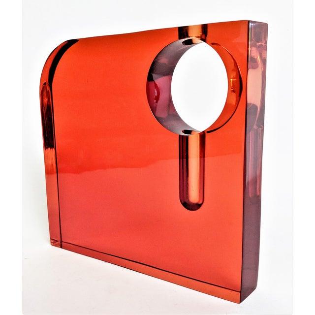 Orange Lucite Bud Vase For Sale - Image 11 of 11