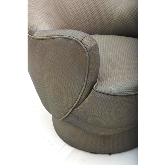 Fabric Early and Rare American Modern Pair of Barrel Swivel Chairs, Vladimir Kagan For Sale - Image 7 of 10