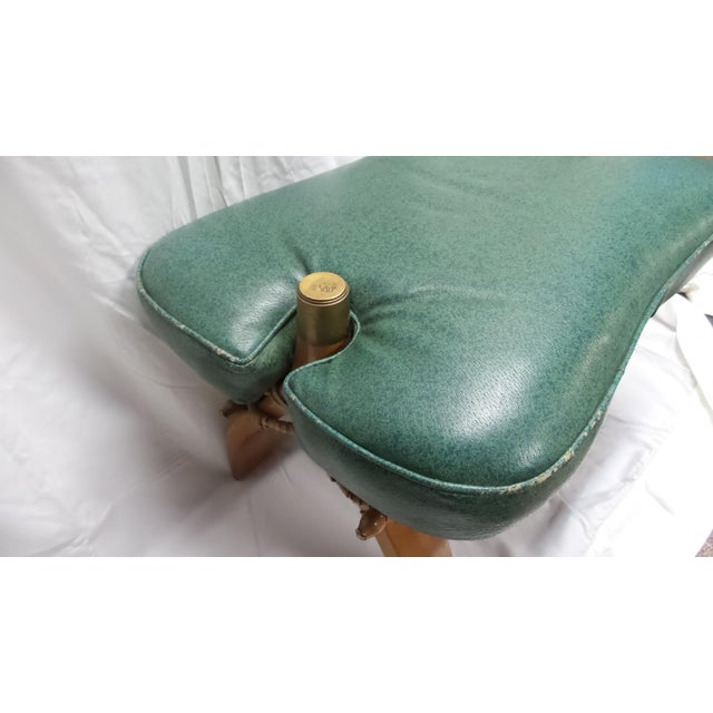 Fabric Vintage Camel Saddle Stool with Teal Cushion For Sale - Image 7 of 11