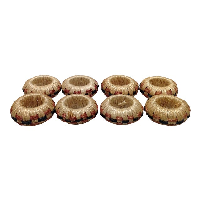 Hand Crafted Basket Weave Napkin Rings - Set of 8 For Sale