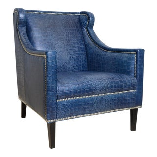 Pasargad Blue Leather Armchair For Sale