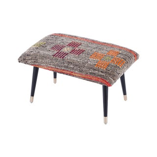 Pasargad Home Bosphorus Collection Orange & Gray Kilim Cover Ottoman For Sale