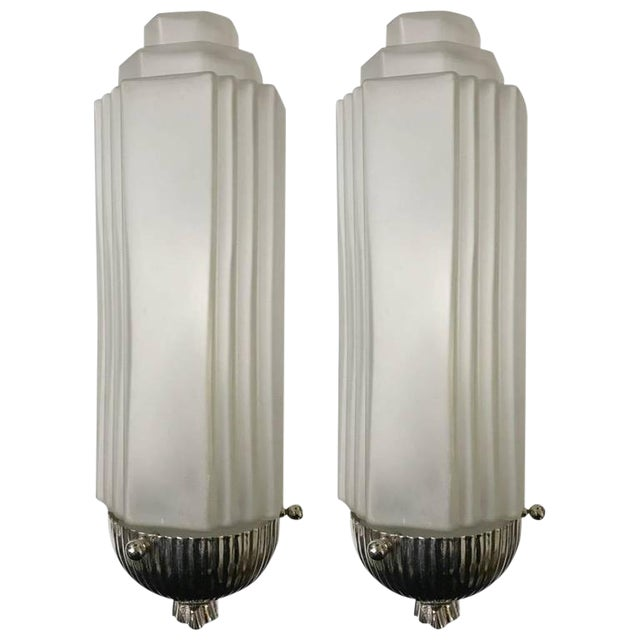 French Art Deco Sconces with Skyscraper Motif - A Pair - Image 1 of 10