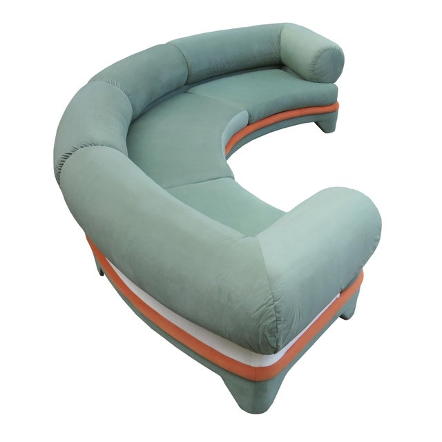 Textile 1970s Contemporary Circular Curved Ultrasuede Sectional Sofa For Sale - Image 7 of 12