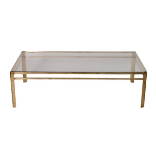 Mid-Century Modern Brass & Glass Coffee Table by Jacques Quinet For Sale