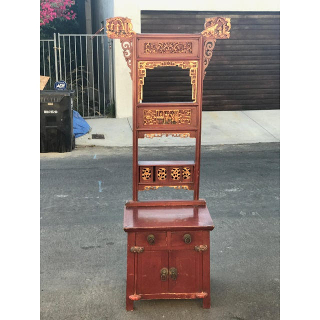 Asian Distressed Red Cabinet - Image 2 of 7
