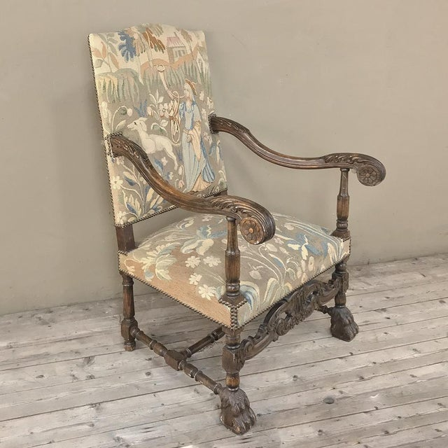 Textile 19th Century French Louis XIII Armchair With Tapestry For Sale - Image 7 of 12