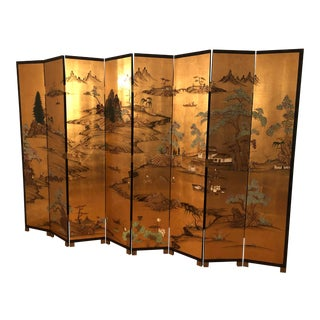 Mid Century Chinoiserie 8 Panel 2 Sided Divider Screen For Sale
