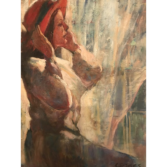 Original Acrylic. Girl With Red Hat. Signed Lower Right-Cordes. For Sale - Image 4 of 8