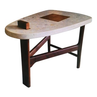 Harvey Probber Terrazzo and Walnut Side Table For Sale
