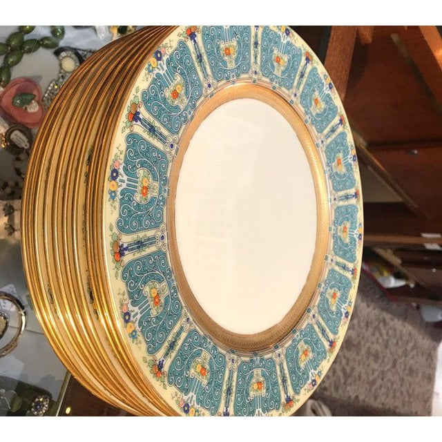 Hand Enameled Blue and Gold Dinner Service Plates - Set of Eleven For Sale - Image 9 of 12