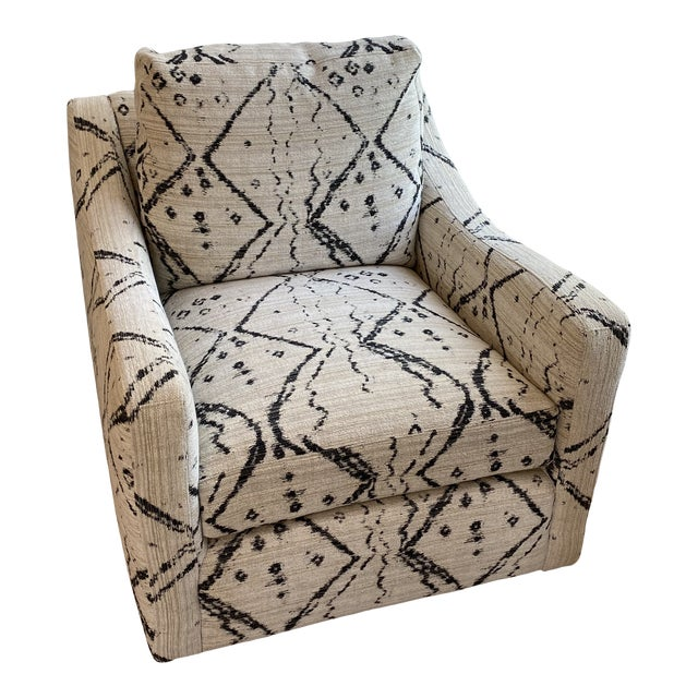 Black and White Upholstered Swivel Lounge Chair For Sale