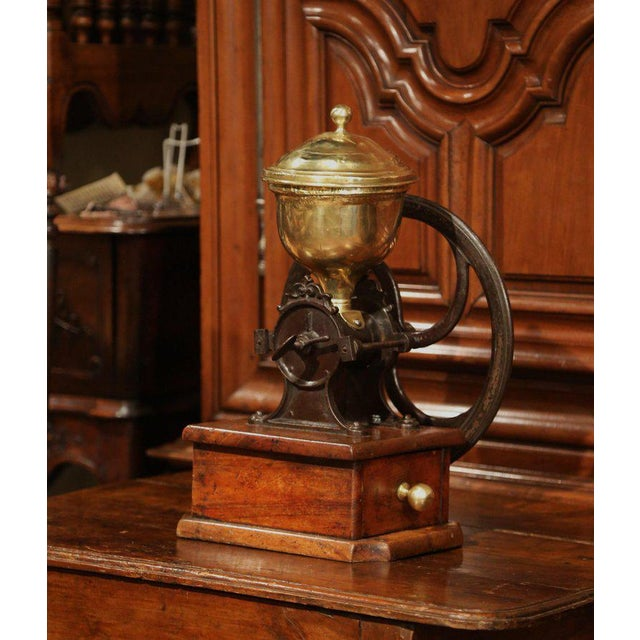 Metal Large 19th Century French Walnut Iron and Brass Coffee Grinder For Sale - Image 7 of 11