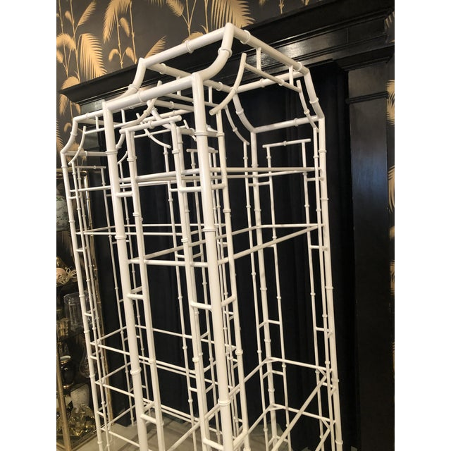 Vintage Chinese Chippendale Newly White Powder-Coated Faux Bamboo Pagoda Metal Shelves Etageres -A Pair For Sale - Image 12 of 13
