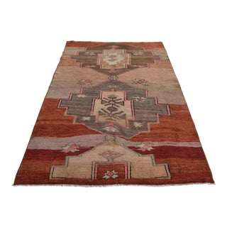 Hand Knotted Rug Turkish Tribal Distressed Area Rug - 4′9″ X 7′6″ For Sale