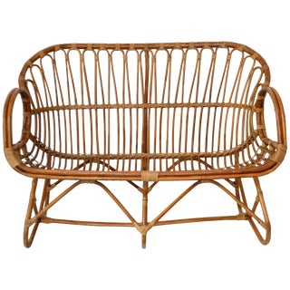 Midcentury Sculptural Bent Bamboo Settee For Sale