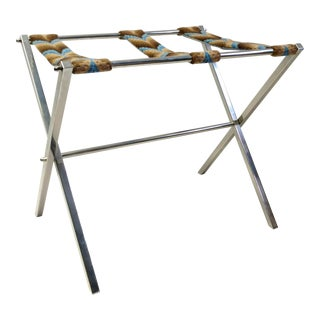 Mid Century Modern Chrome Luggage Rack With Needlepoint Straps For Sale