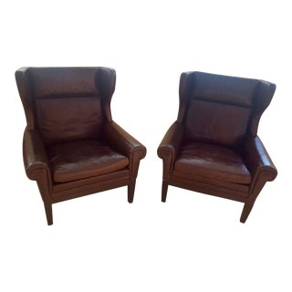 Wingback Leather Armchairs - a Pair