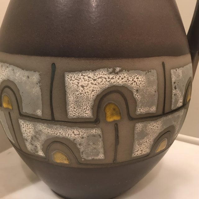 Mid-Century Modern 1960s Mid Century Modern Austrian Ceramic Pottery Pitcher For Sale - Image 3 of 6