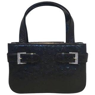 MCM Vintage Black Ostrich Mini Handbag Purse For Sale