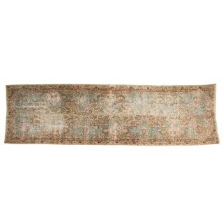 """Vintage Distressed Fragment Kerman Rug Runner - 4'1"""" X 14'2"""" For Sale"""