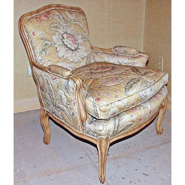 Contemporary take on a Louis XV classic, closed armchair bergeres in light beechwood with a custom quilt-sewn designer...