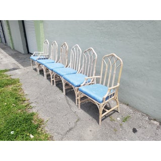 1980s Vintage Henry Link Cathedral Back Chinese Chippendale Rattan Dining Chairs- Set of 8 Preview