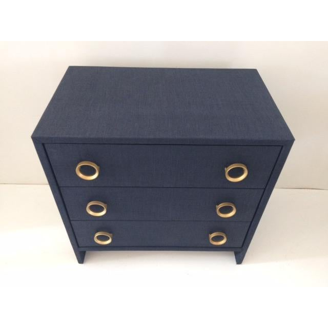 Contemporary Contemporary Todd Hase Three Drawer Burlap Wrapped Chest For Sale - Image 3 of 13