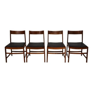 Jens Risom Style Walnut Dining Chairs - Set of 4 For Sale