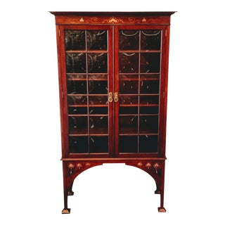 Late 19th Century Shapland & Petter of Barnstaple / Raleigh Cabinet Works Inlaid Mahogany Bookcase For Sale