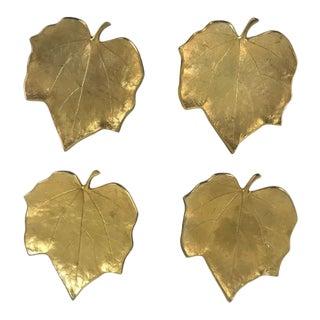 Gilt Metal Begonia Leaf Trinket Trays - Set of 4 For Sale