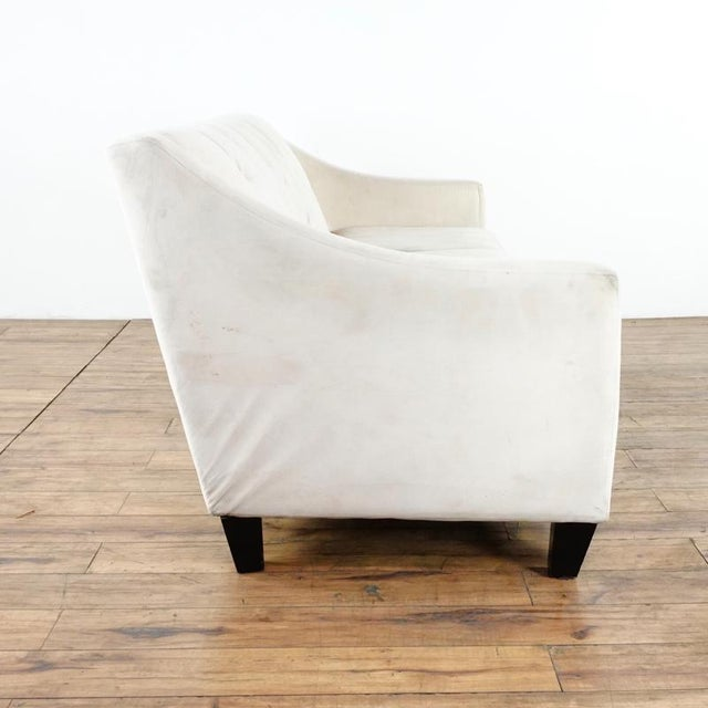 Contemporary White Upholstered Button Tufted Sofa For Sale - Image 4 of 7
