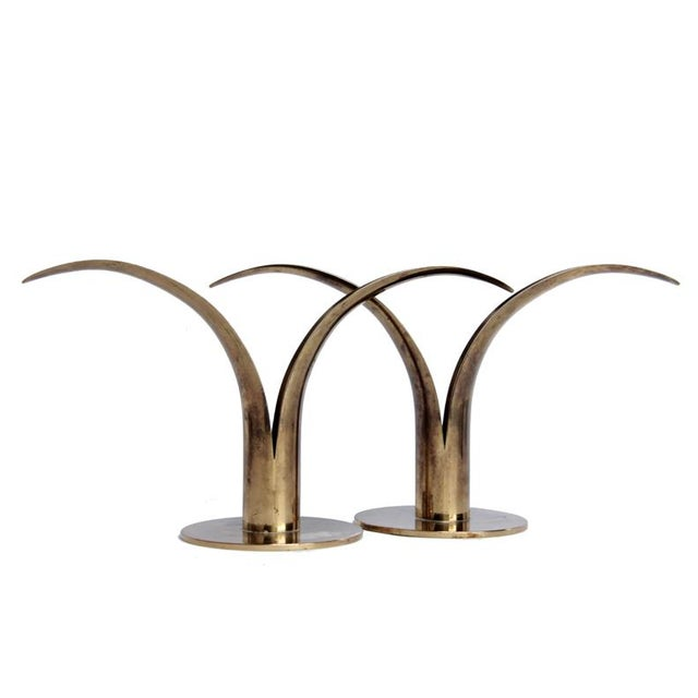 Metal Mid Century Swedish Brass Candlesticks - a Pair For Sale - Image 7 of 7