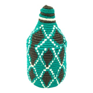 Turquoise Wool Basket For Sale