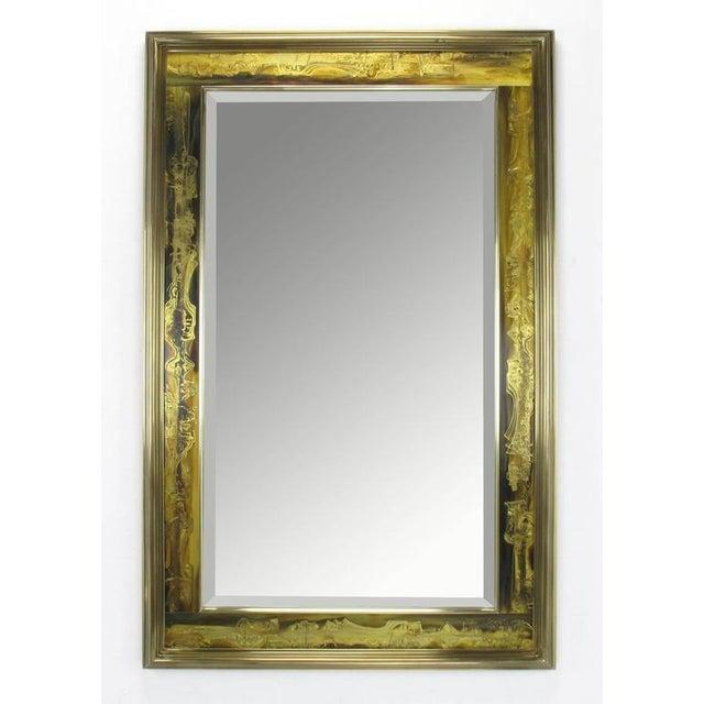 Pair of Mastercraft Bernhard Rohne Acid-Etched Frame Beveled Mirrors - Image 4 of 8