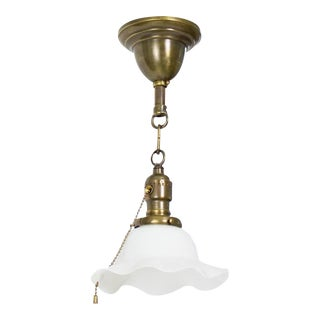 Early 20th Century Pendant With White Ruffled Glass and Pull Chain Socket For Sale