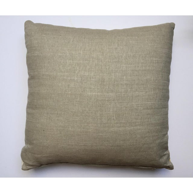 African Vintage Yellow Aso Oke Pillow For Sale - Image 3 of 3