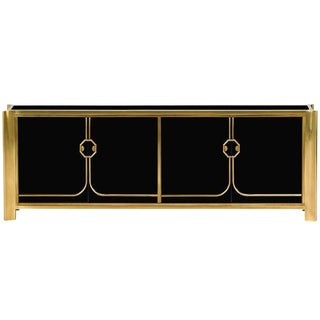 Black Lacquered and Brass Credenza by Mastercraft For Sale
