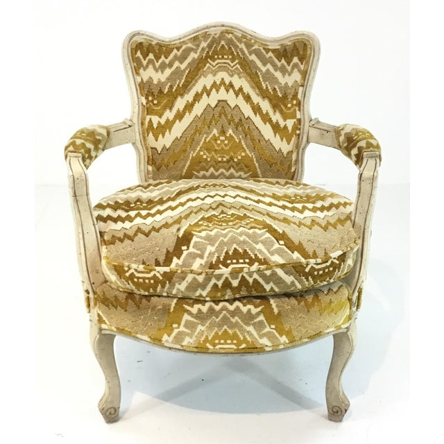 Chic Vintage French Gold Cut Velvet Slipper Chair Pair, weathered cream wood frame, Circa, 1960's
