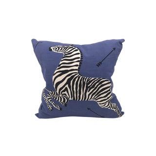 Zebra Pillow, Denim For Sale